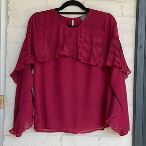 Sunday in Brooklyn top w pleated collar & sleeves